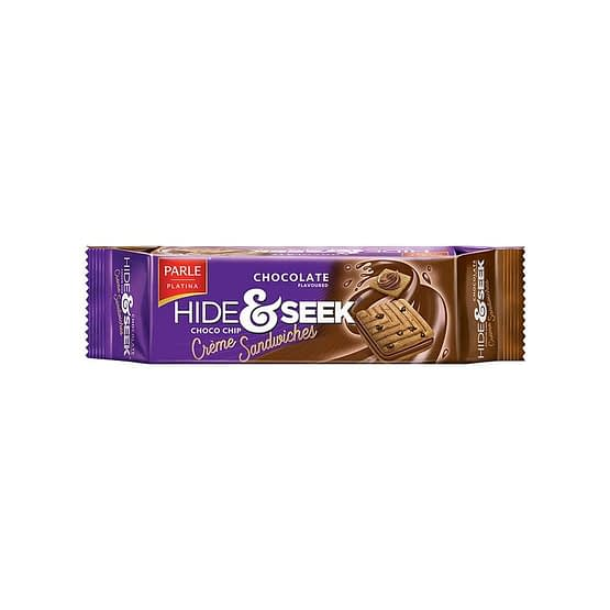 Parle Hide Seek Chocolate Choco Chip Creme Sandwiches Cookie 100g